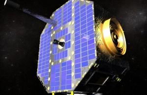 Wizualizacja komputerowa przedstawiająca sondę IBEX na orbicie wokółziemskiej.